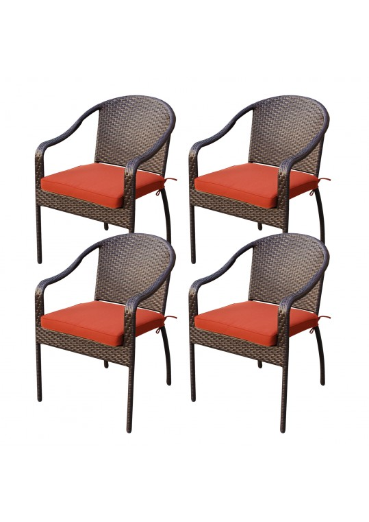 Set of 4 Cafe Curved Stacking Wicker Chairs - Brick Red Cushions