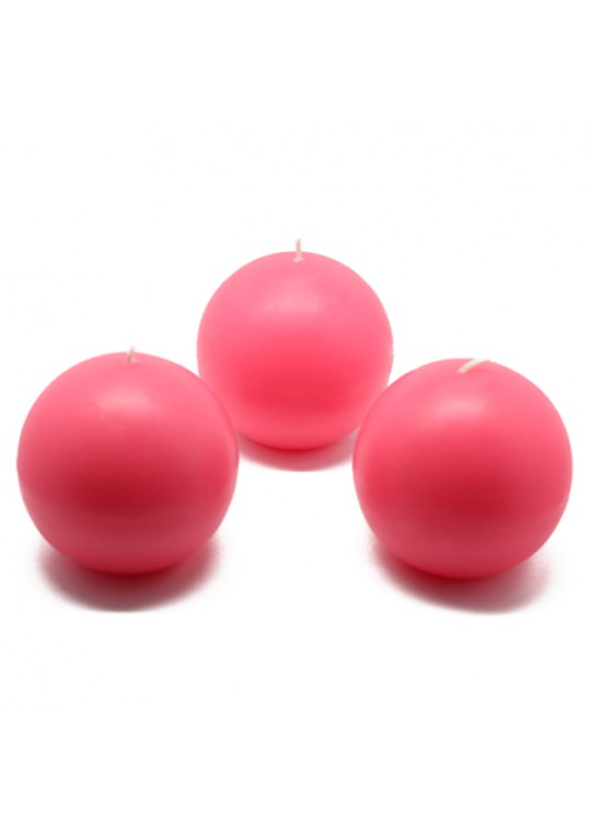 3 Inch Hot Pink Ball Candles (36pcs/Case) Bulk