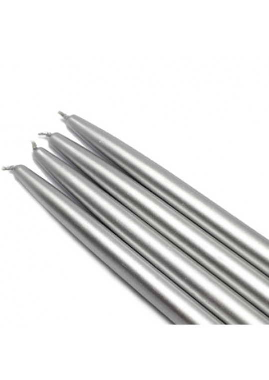 10 Inch Metallic Silver Taper Candles (144pcs/Case) Bulk