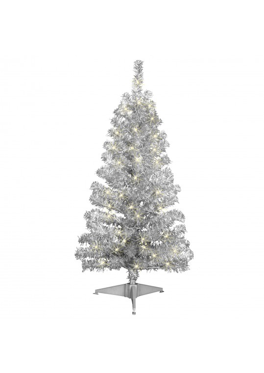 4ft. Prelit Silver Tinsel Tree