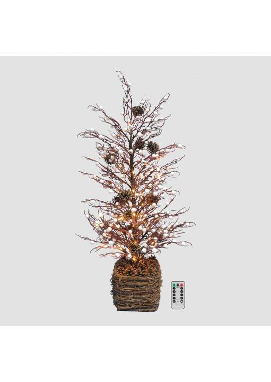 30inch Tabletop Twig Tree with Vine Base - White Berry