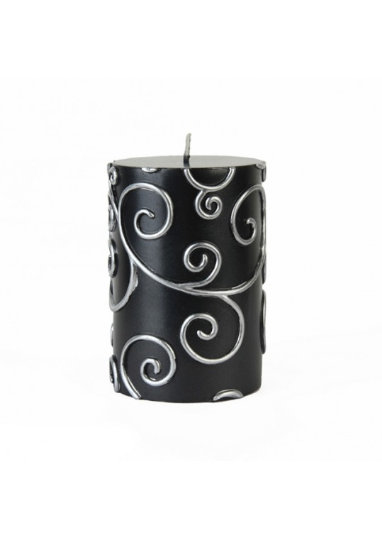 "3 x 4"" Black Scroll Pillar Candle (12pcs/Case) Bulk"
