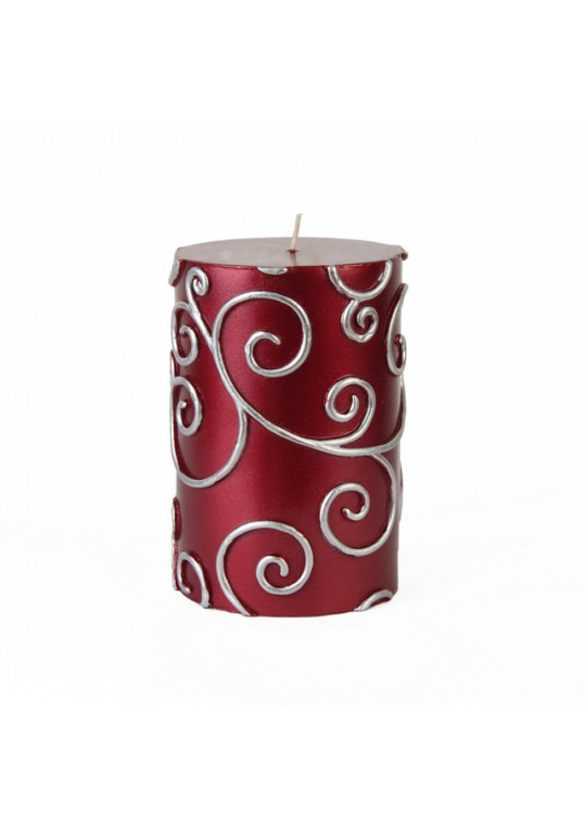 "3 x 4"" Red Scroll Pillar Candle (12pcs/Case) Bulk"
