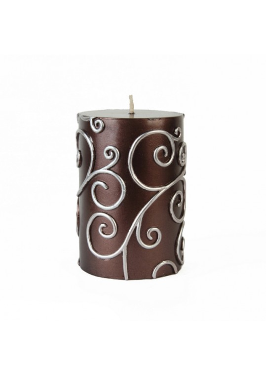 "3 x 4"" Brown Scroll Pillar Candle (12pcs/Case) Bulk"