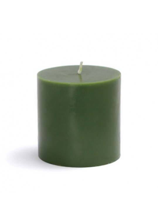 3 x 3 Inch Hunter Green Pillar Candles (12pcs/Case) Bulk