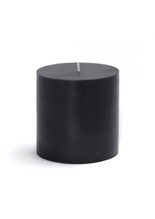 3 x 3 Inch Black Pillar Candles (12pcs/Case) Bulk