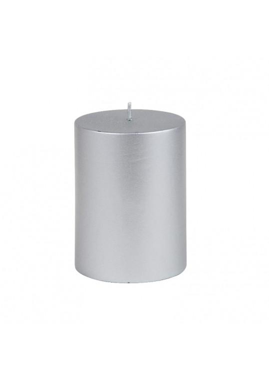 "3 x 4"" Metallic Silver Pillar Candle"
