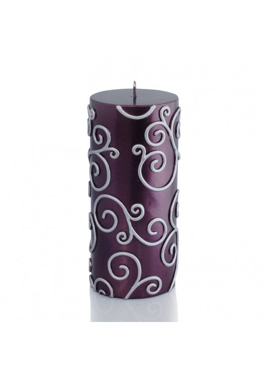 3 x 6 Inch Purple Scroll Pillar Candle (12pcs/Case) Bulk