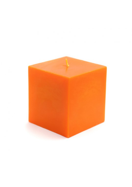 "3 x 3"" Orange Square Pillar Candles (12pcs/Case) Bulk"