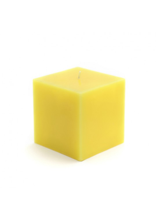 "3 x 3"" Yellow Square Pillar Candles (12pcs/Case) Bulk"