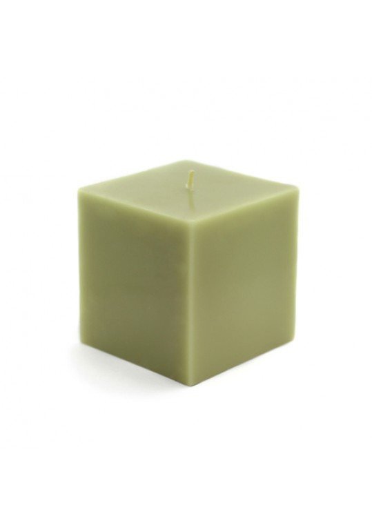 "3 x 3"" Sage Green Square Pillar Candles (12pcs/Case) Bulk"
