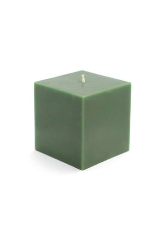 "3 x 3"" Hunter Green Square Pillar Candles (12pcs/Case) Bulk"