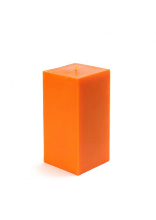 3 x 6 Inch Orange Square Pillar Candle  (12pcs/Case) Bulk