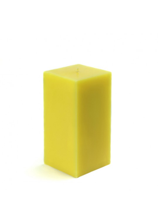 3 x 6 Inch Yellow Square Pillar Candle  (12pcs/Case) Bulk