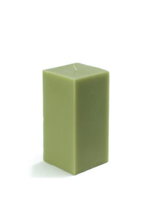 3 x 6 Inch Sage Green Square Pillar Candle  (12pcs/Case) Bulk