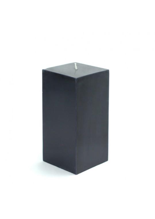 3 x 6 Inch Black Square Pillar Candle  (12pcs/Case) Bulk