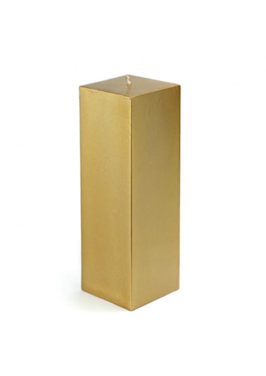 3 x 9 Inch Metallic Bronze Gold Square Pillar Candle