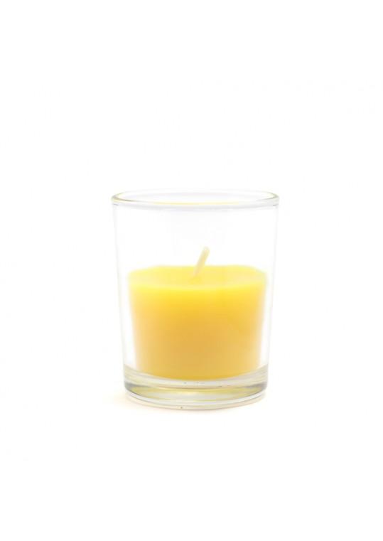 Yellow Citronella Round Glass Votive Candles (96pcs/Case) Bulk