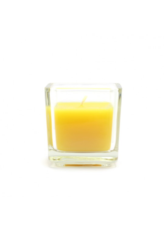 Yellow Citronella Square Glass Votive Candles (96pcs/Case) Bulk