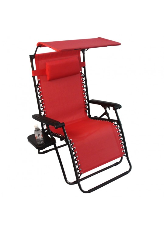 Oversized Zero Gravity Chair with Sunshade and Drink Tray - Red