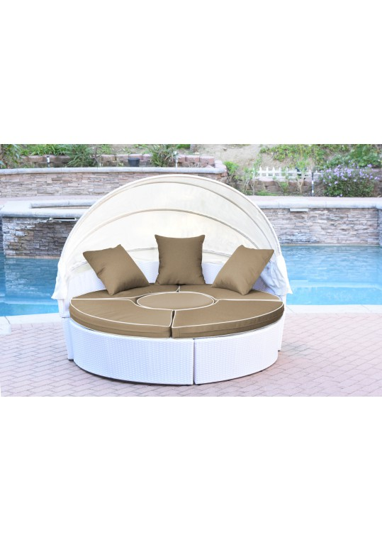 All-Weather White Wicker Sectional Daybed - Tan Cushions