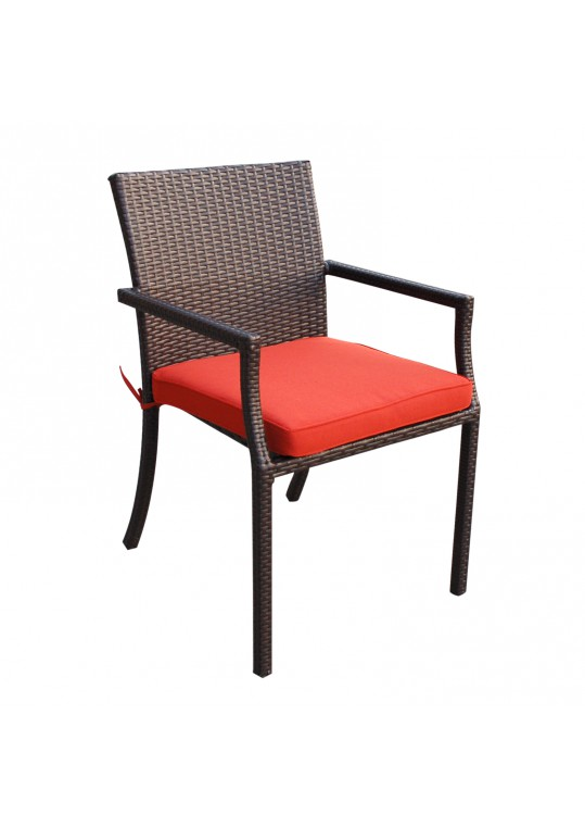 Brick Red Cafe Curved Stacking Chairs Cushion