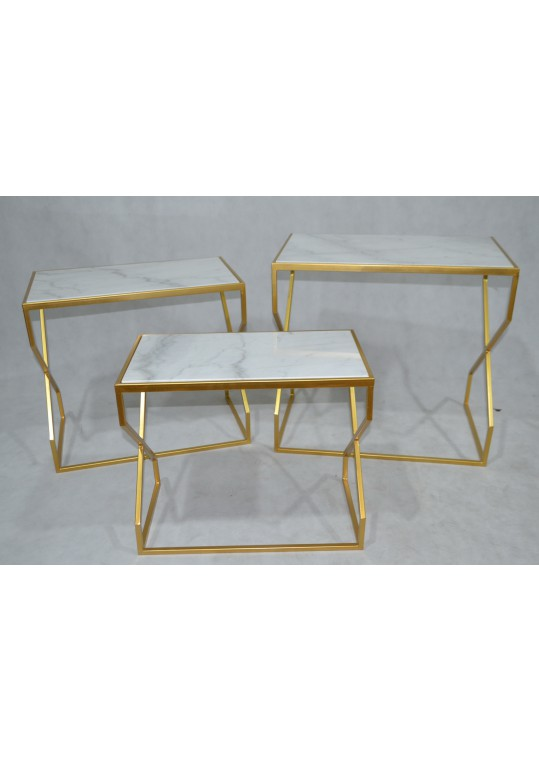 Set of 3 Metal Side Table