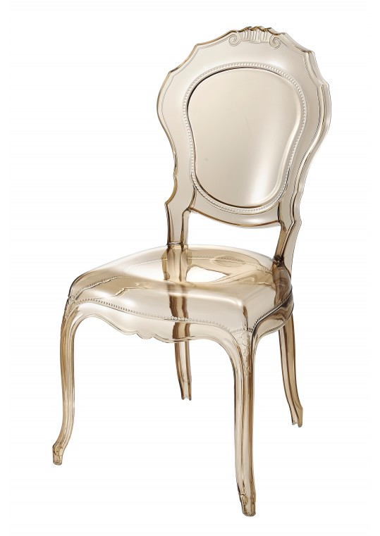 Amber-colored Plastic Armless Chair (Set of 2)