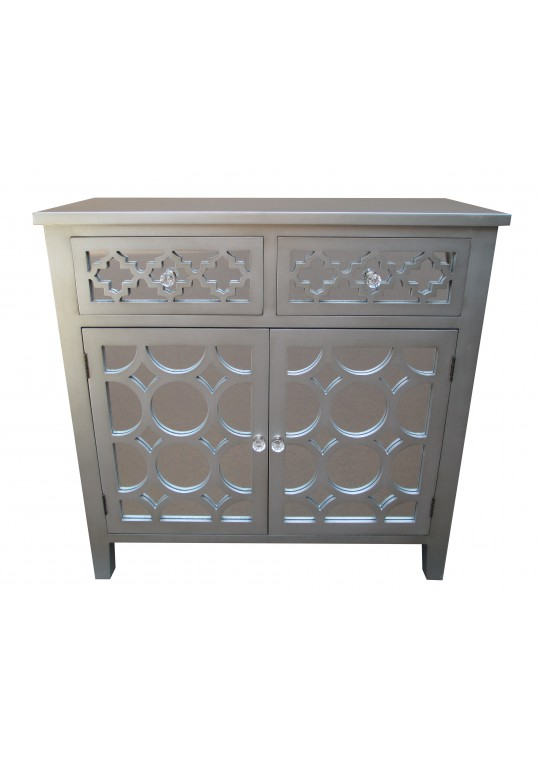 32 Inch H Grey Wooden Accent Cabinet