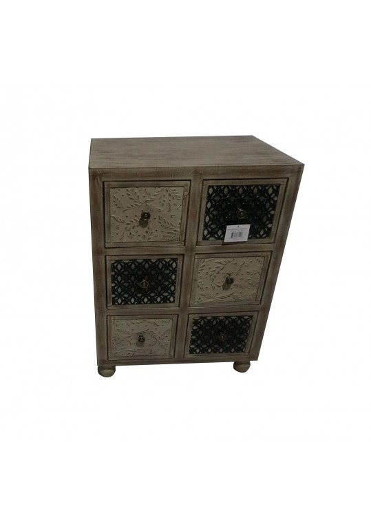 30 Inch Wooden Cabinet With 6 Drawer