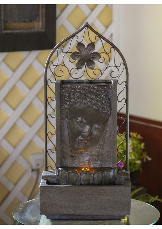 Buddha Wall  and Metal Flower Fountain with Led Light