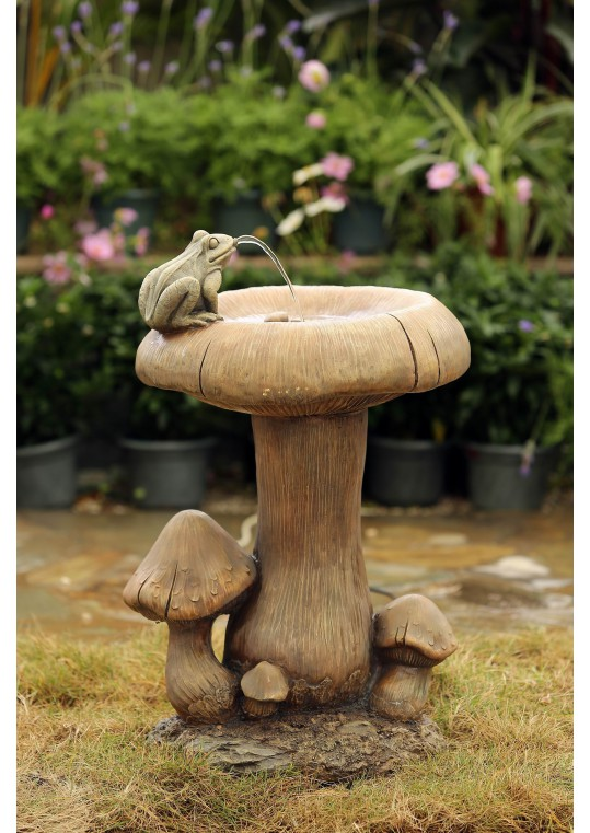 Mushroom and Frog Water Fountain