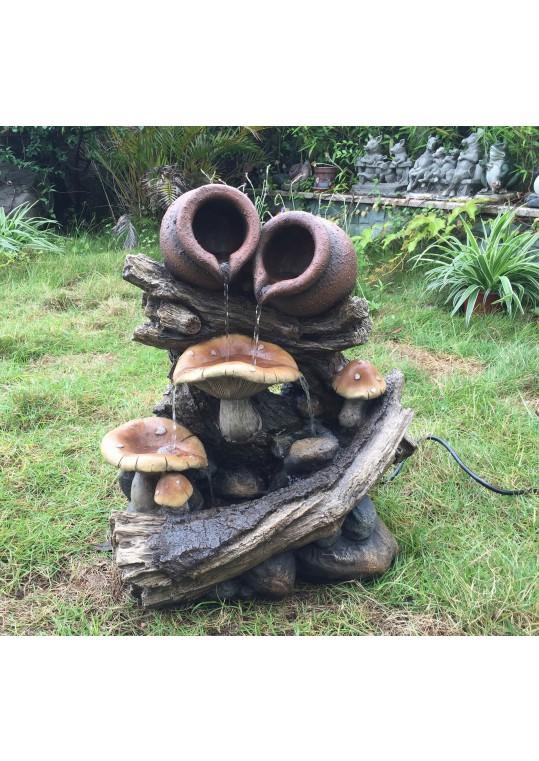 Pots On Wood Stump Water Fountain