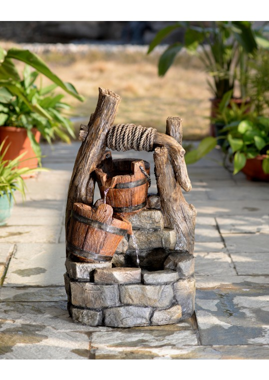 Tree Trunk and Pots Water Fountain