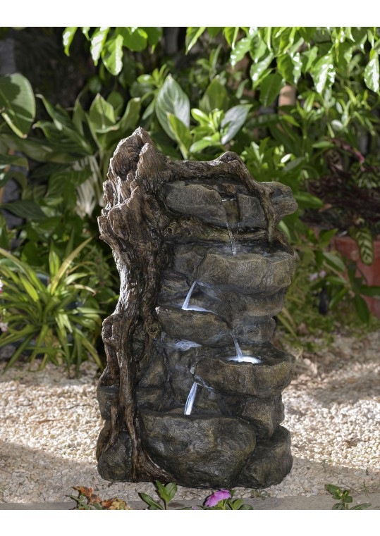 Multi-Tier Rocks Water Fountain with Led Lights