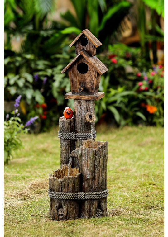Tiered Wood Finish Water Fountain with Birdhouse