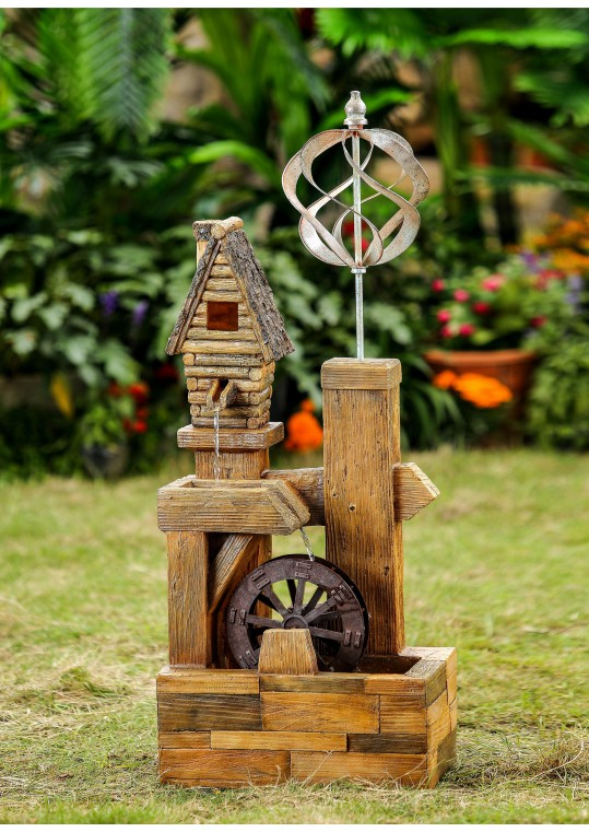 Wood Look Birdhouse with Wind Spinner