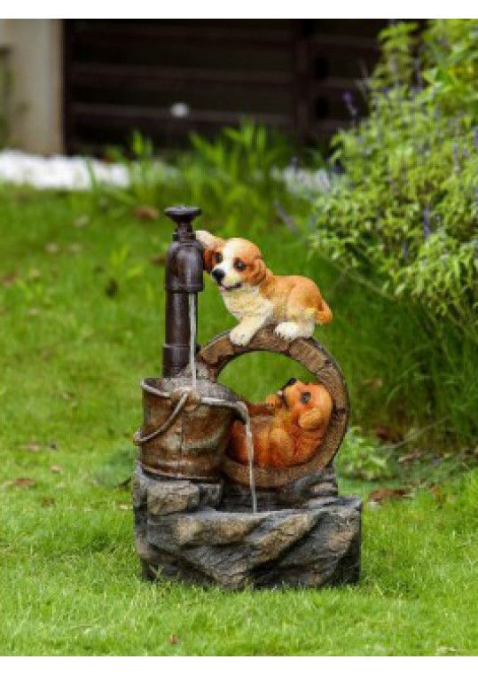 Playing Dogs Fountain with LED Light