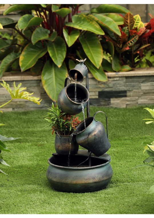 Metal Pot in Pot Fountain with Flower Pot