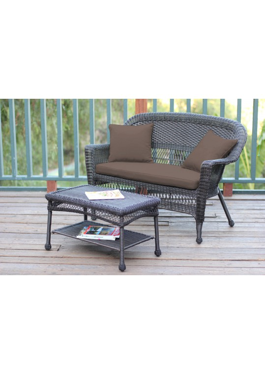 Espresso Wicker Patio Love Seat And Coffee Table Set With Brown Cushion