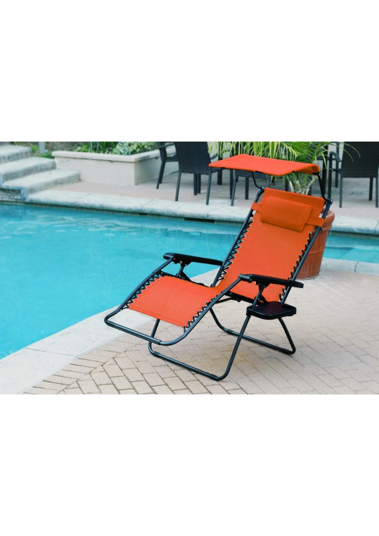 Set of 2 Oversized Zero Gravity Chair with Sunshade and Drink Tray - Orange