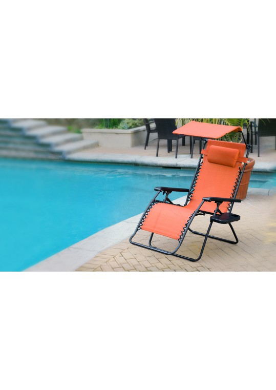 Oversized Zero Gravity Chair with Sunshade and Drink Tray - Orange