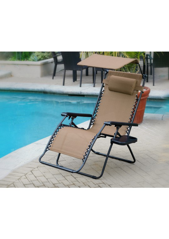 Set of 2 Oversized Zero Gravity Chair with Sunshade and Drink Tray - Tan