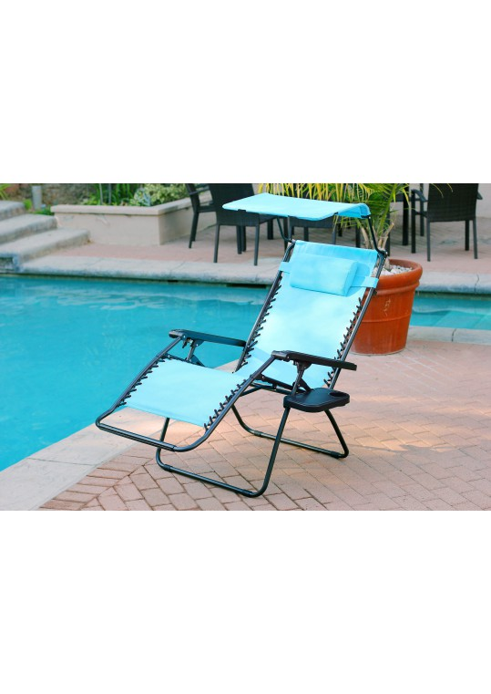 Set of 2 Oversized Zero Gravity Chair with Sunshade and Drink Tray - Pacific Blue