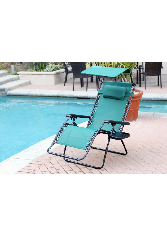 Set of 2 Oversized Zero Gravity Chair with Sunshade and Drink Tray - Green