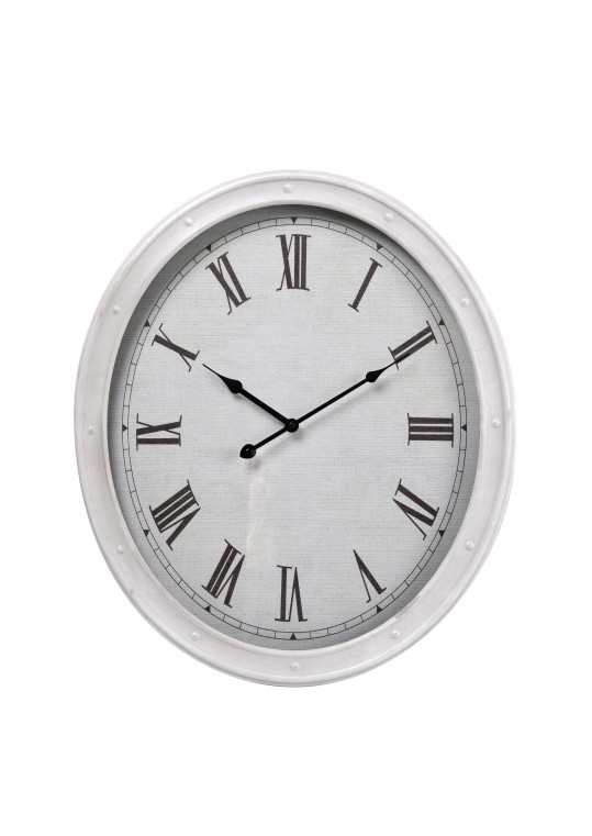 "20"" White Metal Oval Wall Clock"