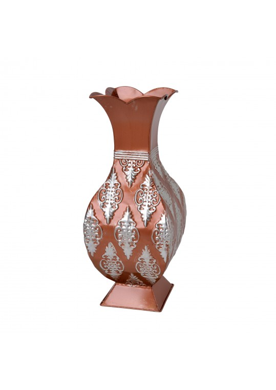"16"" Copper/Silver Metal Vase"