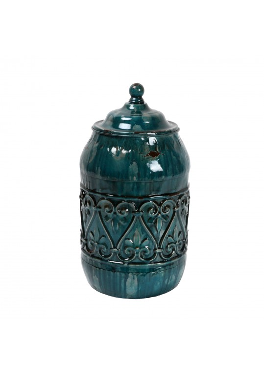 "10.5"" Blue Metal Jar"