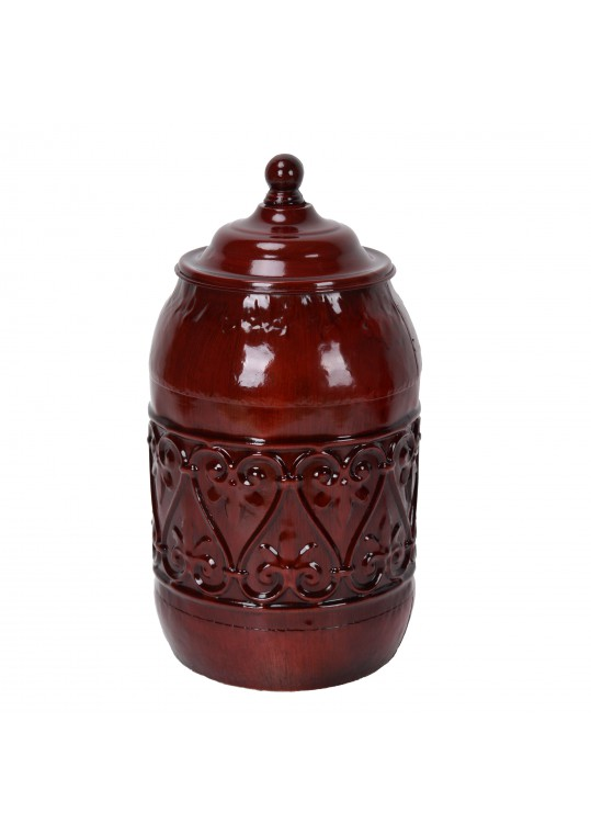 10.5 Inch Red Metal Jar