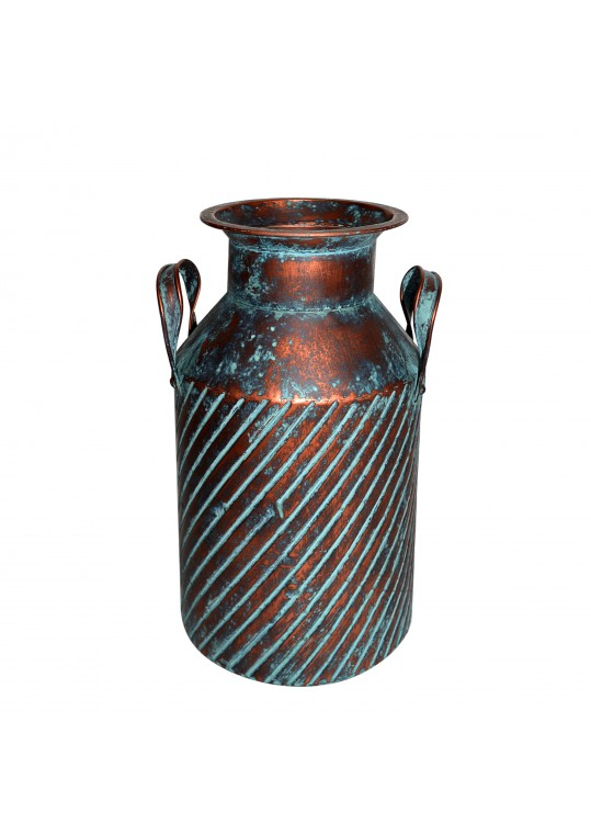 14.75 Inch Copper/Blue Rib Metal Vase with Holder